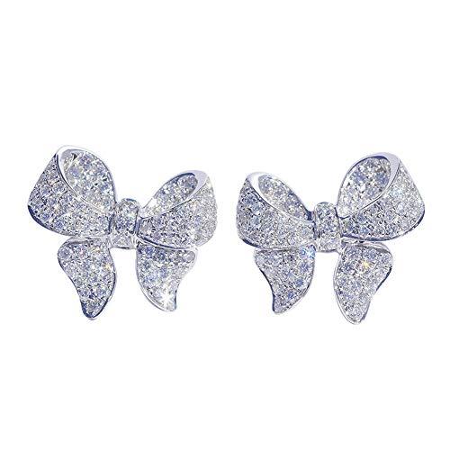 Pendientes bowknot para mujer pendientes de circonita cúbica de lujo ligero pendientes de moda para mujeres elegantes