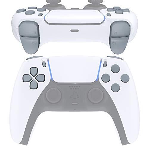 eXtremeRate Przyciski do kontrolera DualSense 5 PS5, zapasowe przyciski akcji, Thumbsticks R1 L1 R2 L2, przycisk Share, przycisk opcji do PlayStation 5 kontrolerów, kolor kwarcowy szary