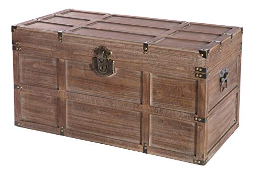 Vintiquewise Wooden Rectangular Lined Rustic Storage Trunk with Latch, Large, Brown