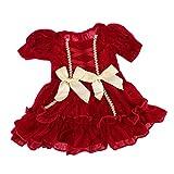 FLAMEER Knielang Puppenkleid Prinzessin Abendkleid Partykleid für 43 cm Babypuppe - Rot