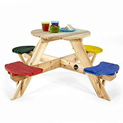 A colourful circular picnic table for outdoor eating or tea parties Made from premium FSC certified timber Small footprint ideal for compact gardens or for patios Supplied flat packed and pre-drilled with easy assembly instructions Easy to assemble i...