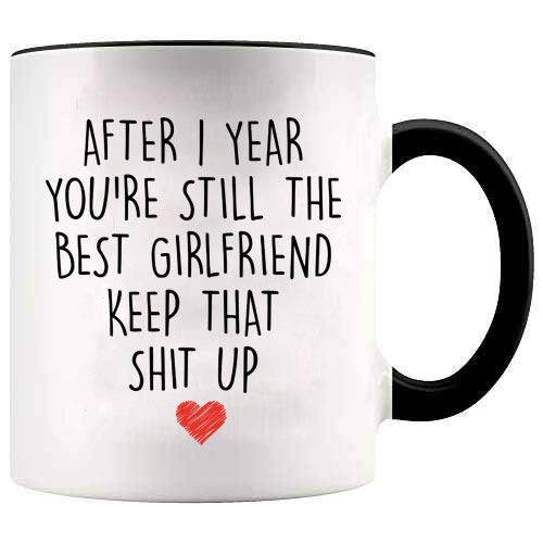 YouNique Designs 1 Year Anniversary Coffee Mug for Girlfriend, 11...