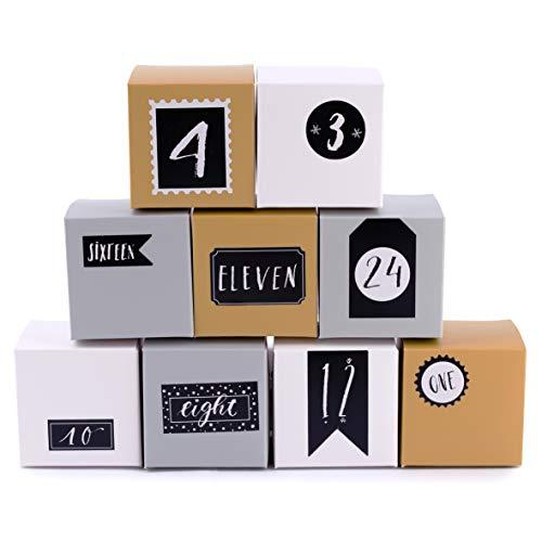 Adventskalender zum Befüllen Boxen Silver 24 Geschenkboxen Schachteln Weihnachten, Weihnachtskalender DIY Bastelset inkl. Adventszahlen Aufkleber von pajoma