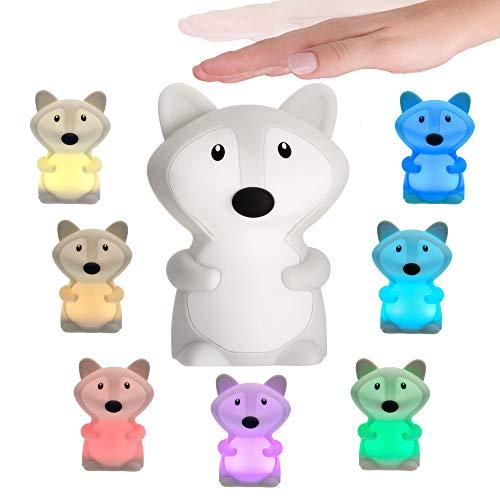 Pauleen 48041 Good Night Fox Nachtlicht Fuchs für Kinder mit Akku LED Kinderzimmerlampe mit Farbwechsel aus BPA-freiem Silikon, Weiß