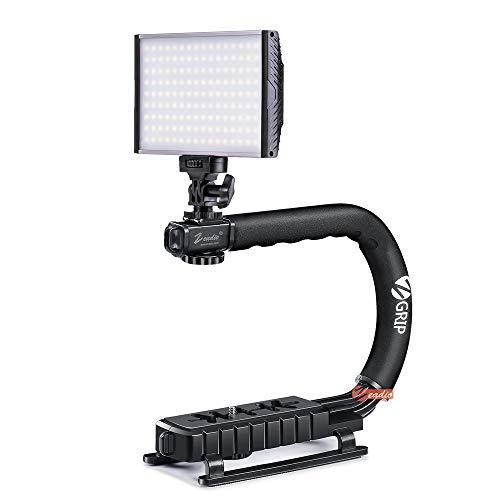 Zeadio Stabilizzatore palmare stabilizzante + Videocamera bicolore dimmerabile Videocamera LED con luce 3200-5600K 1500LM Pannello di controllo digitale per tutte le fotocamere reflex digitali