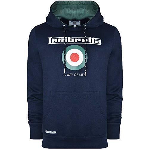 Lambretta - Felpa con cappuccio da uomo, stile retrò, colore: blu navy/abete rosso blu navy/abete. L
