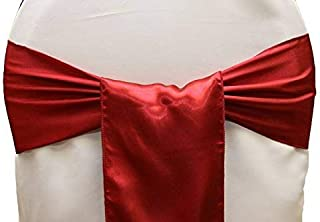 Set of 10 Chair Decorative Satin Sashes Bow Designed for Wedding Events Banquet Home Kitchen Decoration (Apple Red)