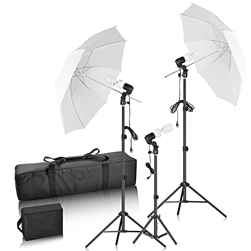 FUDESY Photography Umbrella Lighting Kit, Photo Studio Equipment Continuous Lighting for Photoshoot, White Umbrella Lights with Stand for Camera Video Shoot, Portrait, Booth, Product, Podcast, Newborn