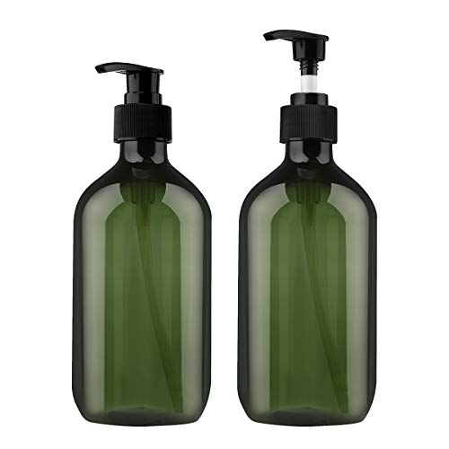 Yebeauty Pump Bottles, 17oz 500ml Liquid Soap Pump Bottles Dispenser Large Empty Plastic Refillable Containers- 2 Pack Green