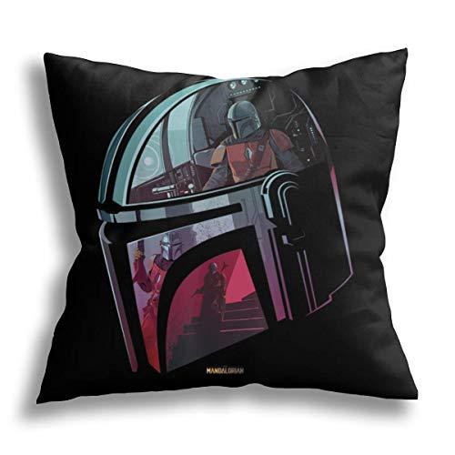 Star Wars - Fundas de almohada para el casco mandaloriano, fundas de almohada para sofá, regalo personalizado de 50,8 x 50,8 cm