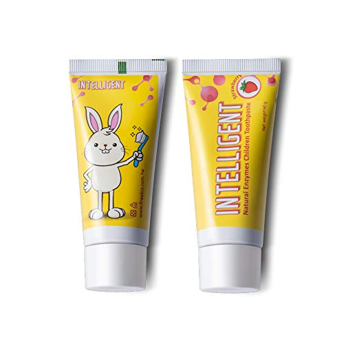 INTELLIGENT Enzymatic Kids Toothpaste – White Healthy Teeth for Baby and Toddler, Natural Non-Foaming Infant Tooth Paste, Sulfate-Free, Fluoride-Free, Mint-Free (Strawberry - 2 pcs x 1.37 Ounce)