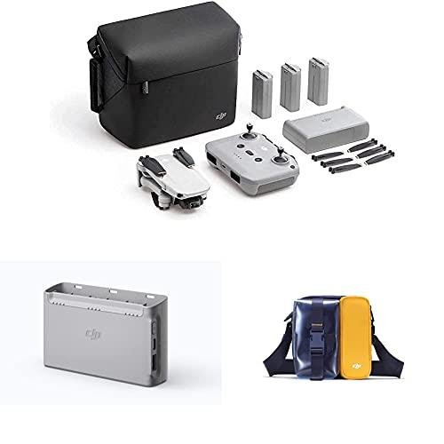 DJI Mini 2 Fly More Combo - Ultraleichter und faltbarer Drohnen-Quadkopter, 3-Achsen-Gimbal mit 4K-Kamera + Mini 2 Zweiweg-Ladestation + Mini 2 Mini Bag