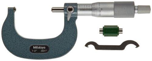 Mitutoyo 115-242 Serie 115 - Micrómetro de tubo esférico, yunque y husillo, rango de 2,54 a 5,08 cm, graduación de 0,001 pulgadas