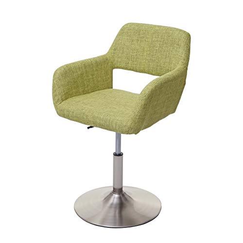 Chaise de Salle à Manger HWC-A50 III, Style rétro années 50, Tissu ~ Vert Clair, Pied en métal brossé