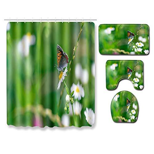 EZEZWSNBB 4-teiliges Duschvorhang-Set Kleine weiße Gänseblümchen und Schmetterlinge Badezimmer Anti-Rutsch-WC-Vorleger + Deckel WC-Abdeckung + Badematte + Duschvorhang mit 12 Haken