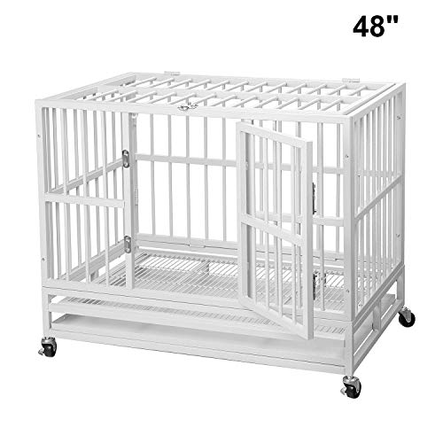 PUPZO Heavy Duty Dog Cage Crate Kennel Carbon Steel with Four Wheels for Large Dogs Easy to Install (48 INCH White) Basic Crates