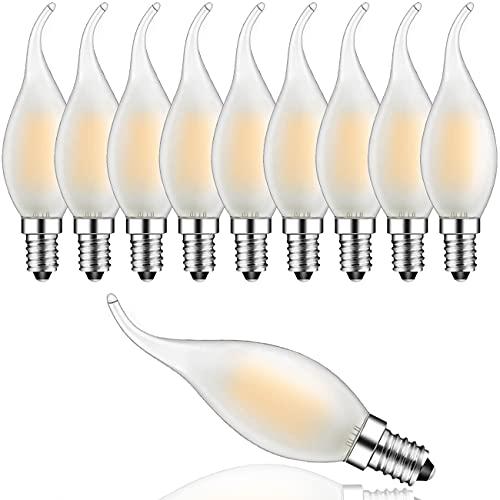 10er-Pack 4W Dimmbar LED Lampe in Kerzenform mit E14 Fassung, Ersetzt 30 Watt, LED Filament Kerze Birne Windstoß Matt Warmweiß 2700K