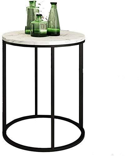 Nest Of Tables Mesa de centro blanca Mesas auxiliares Mesa para portátil Café nórdico Parte lateral redonda Tapa de mármol con marco de metal Sala de estar Sofá Balcón Extremo, 40 y 50 cm, Blanco