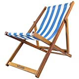 Woodside Traditional Folding Beach/Garden Wooden Deck Chair Seaside Lounger Light Blue & White