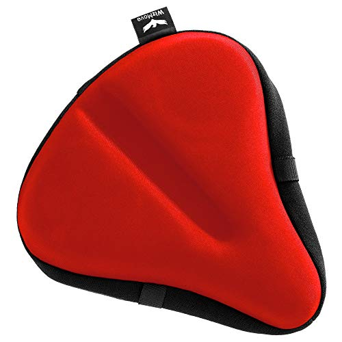 wizmove Large Bike Seat Cover | Premium Wide Gel Bicycle Saddle Cushion | Extra Padded Comfort for Exercise, Stationary, Cruiser or Spinning Cycling (Rojo)