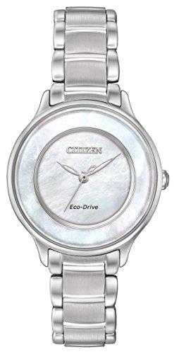 Citizen Círculo de Tiempo de Reloj de Cuarzo para Mujer con nácar Esfera Analógica Pantalla y Pulsera de Acero Inoxidable (Plata em0380–81d