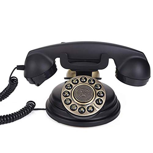 Teléfono clásico Antiguo, teléfono Fijo Retro de Estilo de la década de 1970 con Carrete y Tonos de Llamada auténticos - Negro, decoración de Escritorio para el hogar