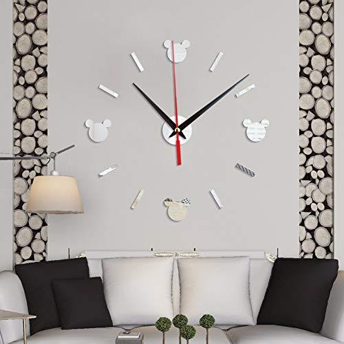 CCLLOO Horloge murale Cartoon Mickey Acrylique Stickers Muraux Horloge Creative 3D Décoratif Miroir Montre À L'Aiguille Batterie Silent Simple