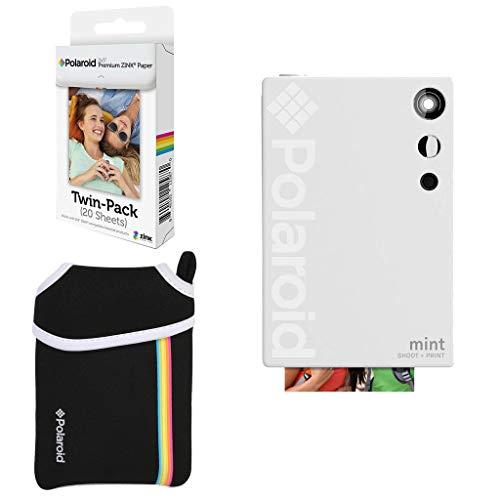 Polaroid Mint Instant Digitale Camera Basisbundel + Papier (20 Sheets) + Deluxe Pouch, Kleur: wit, Camera