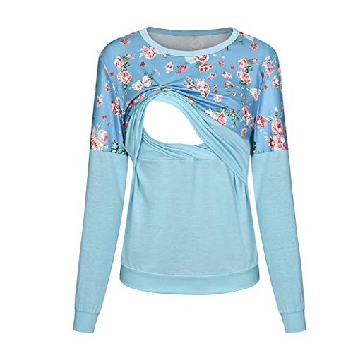 Allence Damen Kurzarm Stillzeit T-Shirt Streifen Patchwork Stillshirt Umstandsmode Doppelschicht Bluse T-Shirt Stillendes Baby Umstandstop Schwanger Umstandsnachthemd für Mutterschaft