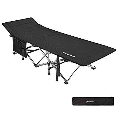"""KingCamp Camping Cot Oversized for Adults 30"""" Wide 440 lbs Capacity, XXL Heavy Duty Folding Sleeping Bed Aluminum Frame with 1200D Jacquard Oxford Fabric for Indoor & Outdoor"""