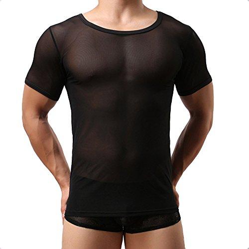 Sking Herren Sexy Transparent T Shirt Glatt Gaze Slim Fit Tops Unterwäsche Reizwäsche - Weiß/Schwarz M LXL (M, Schwarz)