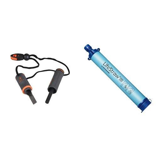 Gerber Bear Grylls Fire Starter [31-000699] with LifeStraw Personal Water Filter