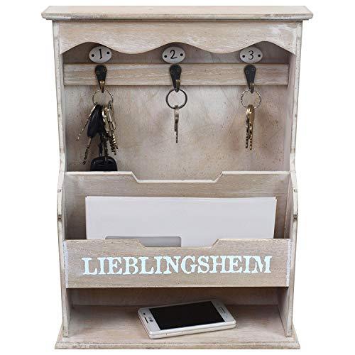 Wandorganizer 'Lieblingsheim' - Memoboard mit Schlüsselbrett und verschiedenen Ablagen, 30x40x10,5cm, Holz - Memotafel Flur Diele Dekoration