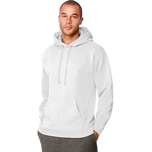 Hanes Mens Ultimate Cotton Pullover Hooded Sweatshirt, XL, White 10 Oz Pullover Hooded Sweatshirt