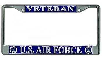 U.S Air Force Veteran Chrome License Plate Frame