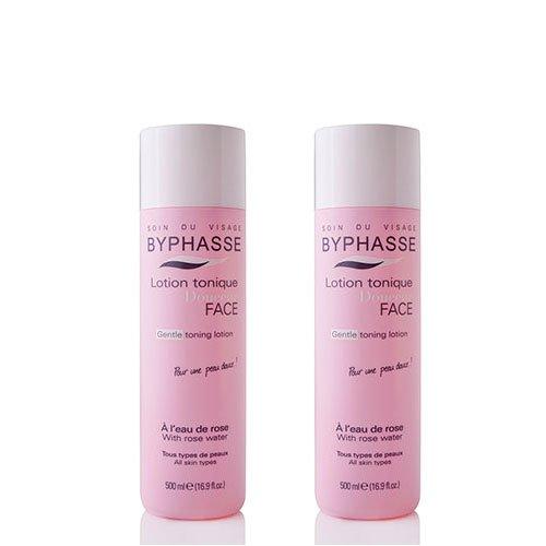 byphasse Loción Tónica al agua de rosa para todo tipo de pieles––Juego de 2