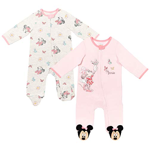 Disney Minnie Mouse Baby Girls 2 Pack Sleep N' Play Coverall Pink/White 3-6 Months