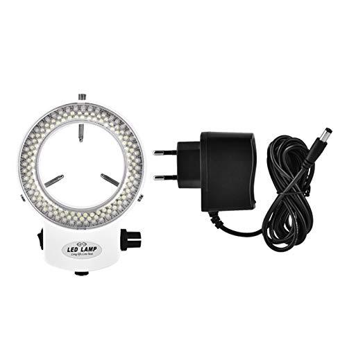 Beisha Cámara de luz de Anillo LED, cámara de microscopio 144 Cuentas de LED Lámpara de Anillo Ajustable de Brillo de Fuente de luz(Estándar Europeo Blanco 220v)