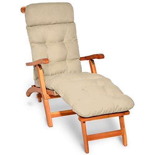 Beautissu Coussin Bain de Soleil Flair DC – Coussin transat épais – Coussin Chaise Longue pour Jardin, terrasse, Balcon - 200x50x8 cm - Nature