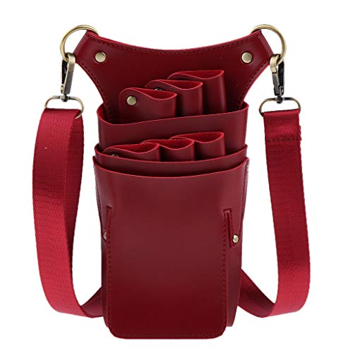 MERIGLARE Barber Shear Waist Bag Holster Ciseaux Peigne Holder Pouch Hair Styling Tools - Rouge