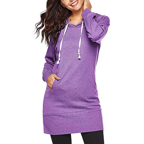 Lonshell Femme Sweatshirt Sweats à Capuche Veste à Capuche Hoodie Casual Jumper Sport Hauts Tops Pullover Blouse Blouson Mode, Noir Bleu Violet S-XL