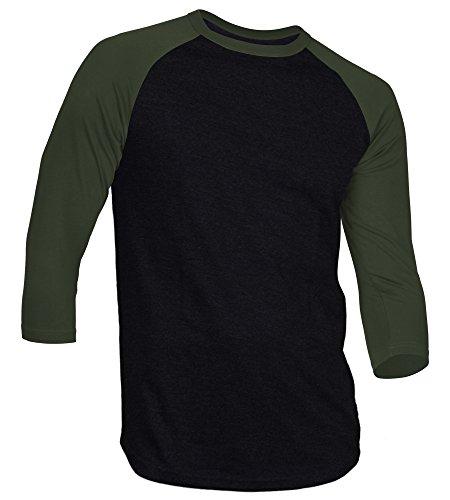 DREAM USA Men's Casual 3/4 Sleeve Baseball Tshirt Raglan Jersey Shirt Black/HuntGrn Medium