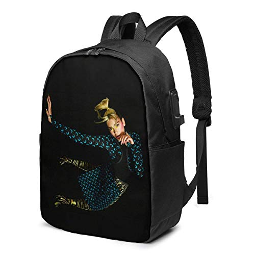 PCYN Dua Lipa School Backpack 17 Inch Bag with USB Charging Port & Headphone Port Black