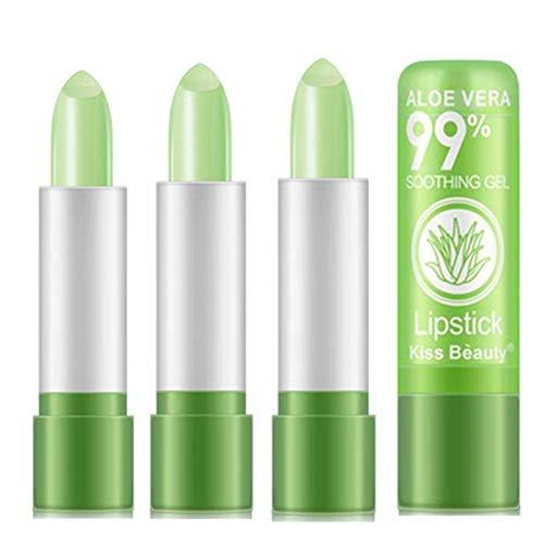 3er Pack Natural Aloe Vera Lippenstifte Set Volumising Lip Plumper Lipgloss Balsam Farbwechsel Liquid Lip Plumping Glasur Feuchtigkeitscreme Lippenvolumen Essence Lips Enhancer Women