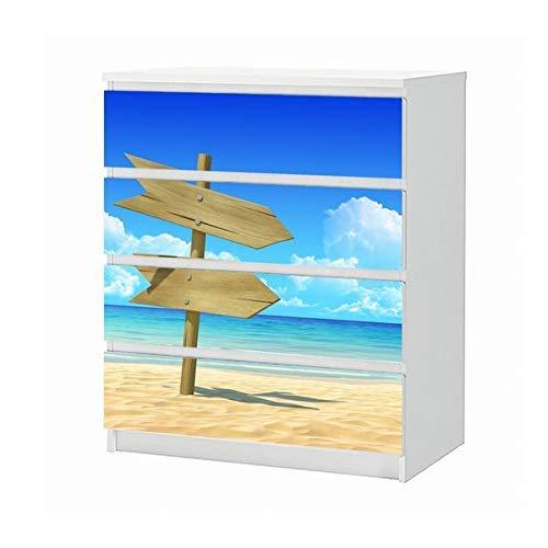 Set Möbelaufkleber für Ikea Kommode MALM 4 Fächer/Schubladen Meer Strand Wegweiser Urlaub Sand Himmel Landschaft Aufkleber Möbelfolie sticker (Ohne Möbel) Folie 25B1414
