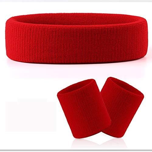VENI MASEE - Juego de muñequeras y cinta para el pelo de felpa; absorben el sudor mientras se practica deporte, muñequeras y cinta deportivas, A3 rojo (1 diadema+2 pulseras).: Amazon.es: Deportes y