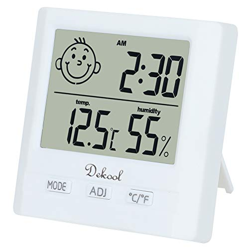 Dekool Igrometro Termometro Digitale, Monitor Umidità da Interno, Temperatura Digitale, Stazione Meteo con Espressione Facciale per Stanza da Bambino, Camera da Letto, Bagno, Soggiorno, Magazzino etc