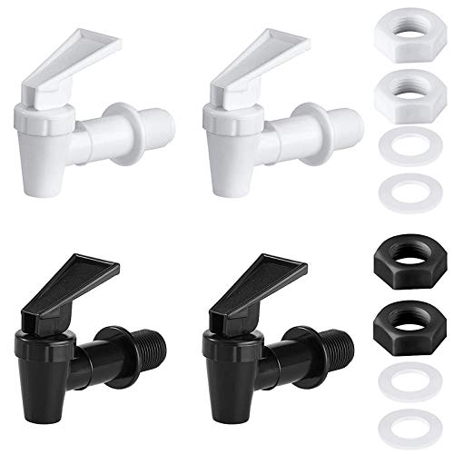 weelcc Cooler Faucet,2 Black and 2 White Water Dispenser Tap Set, Reusable Spigot Spout Water Beverage Lever Pour Dispenser Valve Water Crock Water Tap