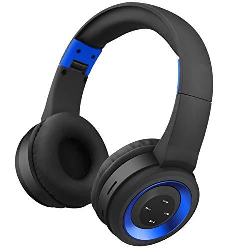 Soapow Auriculares inalámbricos BT con cancelación de ruido sobre la oreja con micrófono para viajes, trabajo, televisión, ordenador/teléfonos móviles (azul)