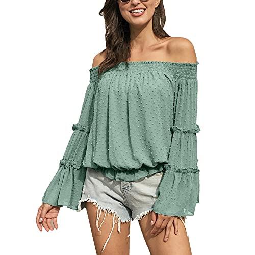 RWXXDSN Modna damska obroża róg z długim rękawem szyfon z odkrytymi ramionami dekolt pusta luźna bluzka, Zielony kolor grochu, M